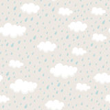 Seamless pattern with rainclouds and raindrops Stock Photos