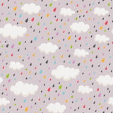 Seamless pattern with rainclouds and raindrops Royalty Free Stock Photography