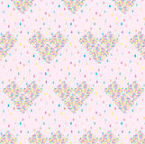 Seamless pattern with raindrop and hearts Royalty Free Stock Photos