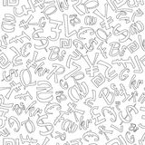 Seamless Pattern of Random Currencies Stock Photos