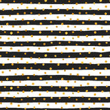Seamless pattern of random gold dots. On trendy background of white and black stripes. Elegant pattern for background, textile, paper packaging and other design vector illustration