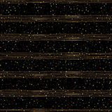 Seamless pattern of random gold dots. On trendy black background with brown stripes. Elegant pattern for background, textile, paper packaging and other design stock illustration