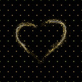 Seamless pattern of random golden dots with golden dust heart  on black background. Elegant pattern for background, textile. Royalty Free Stock Image