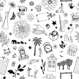 Seamless pattern of random items Royalty Free Stock Photo