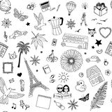 Seamless pattern of random items Stock Images