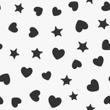 Seamless pattern with randomly scattered silhouettes of hearts and stars. Repeating endless romantic print. Vector illustration Stock Images