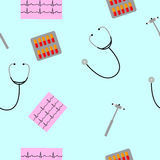 Seamless pattern randomly from stethoscopes, neurological hammers. Blister capsules Royalty Free Stock Images