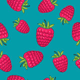 Seamless Pattern ,Raspberries on Azure Background Stock Images