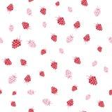 Seamless pattern of raspberries Stock Photo