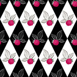 Seamless pattern with raspberry Stock Images