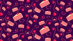 Seamless pattern with raspberry cakes royalty free illustration