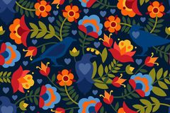 Seamless pattern with raven, symbols of the heart and flowers. Background with flat shapes in blue, green, red, orange and yellow. Colors. Texture in ethno Vector Illustration