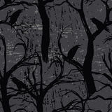 Seamless pattern with ravens Stock Images
