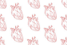 Seamless pattern with the real heart of the red lines Royalty Free Stock Images
