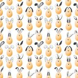 Seamless pattern with realistic eggs and hand drawn elements. Vector royalty free stock photos