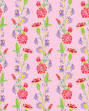 Seamless pattern with Realistic graphic flowers Stock Photos
