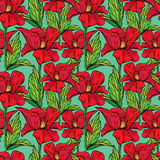 Seamless pattern with Realistic graphic flowers Royalty Free Stock Image