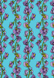 Seamless pattern with Realistic graphic flowers - sweet pea  Royalty Free Stock Photo
