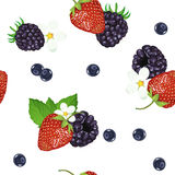 Seamless pattern of realistic image of delicious ripe berries. Vector strawberries. Blueberries. Blackberries. Stock Photo