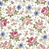 Seamless Pattern. Realistic Isolated Flowers. Vintage Baroque Background. Chamomile Rose. Wallpaper. Drawing Engraving. Royalty Free Stock Image