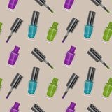 Seamless pattern with realistic nail polishes, Vector art, background - for your templates Stock Photography