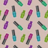 Seamless pattern with realistic nail polishes, Vector art, background - for your templates Royalty Free Stock Images