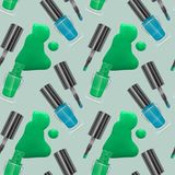 Seamless pattern with realistic nail polishes, Vector art, background - for your templates Royalty Free Stock Photos