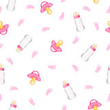 Seamless pattern from realistic pink pacifiers, baby bottles, fo Stock Photos