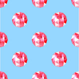 Seamless pattern of realistic red ruby gems. Vector illustration. Stock Photos