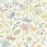 Seamless pattern with realistic seeds Royalty Free Stock Images