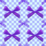 Seamless pattern with realistic and sketched bows on checkered blue background. Purple bows. royalty free illustration