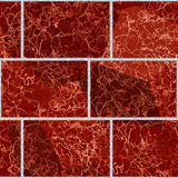 Seamless pattern of rectangles with typical marbled red pattern Stock Images
