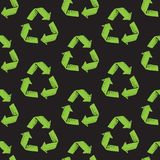 Seamless pattern with recycle reuse symbol isolated on black background. Recycle sign for ecological design zero waste. Lifestyle vector illustration