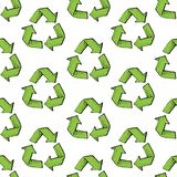 Seamless pattern with recycle reuse symbol isolated on white background. Recycle sign for ecological design zero waste. Lifestyle vector illustration