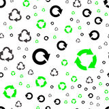 Seamless pattern with recycle symbols. Royalty Free Stock Photos