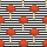 Seamless Pattern. Red Amanita Fly Agaric Mushroom. Black and White Striped Seamless Pattern with Fly Agaric. Red Amanita Mushroom. Hand Drawn Illustration Stock Photography