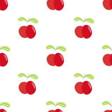 Seamless pattern red apple with green leaf. Royalty Free Stock Images