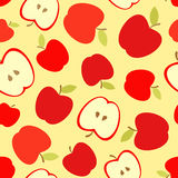 Seamless  pattern with red apples and apple slices. Stock Photography