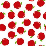 Seamless pattern with red apples stock illustration