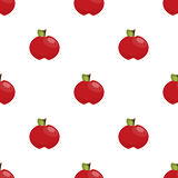 Seamless pattern: red apples on a white background. Ideal for fabric Royalty Free Stock Photo