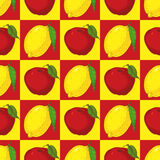 Seamless Pattern with Red Apples and Yellow Lemons Stock Image