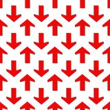 Seamless pattern. Red arrow on white background. Vector stock illustration