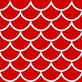 Seamless pattern on red background vector illustration. Seamless pattern white fish scale texture on red background cartoon style vector illustration Stock Image