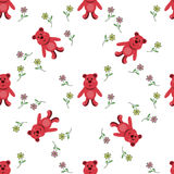 Seamless pattern with red bears Royalty Free Stock Photo