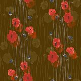 Seamless pattern of red and beige flowers of poppies on a dark beige background. Watercolor -1. Seamless pattern of wild red and beige flowers of poppies on a Royalty Free Stock Image