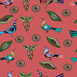 Seamless pattern with red birds. Seamless pattern with decorative red birds..Background with doodle ornaments vector illustration