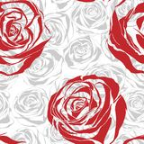 Seamless pattern with red blooming roses Stock Photos