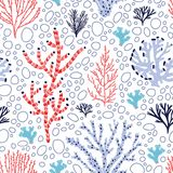 Seamless pattern with red and blue corals and seaweed on white background. Backdrop with tropical aquatic species, sea. Biodiversity. Flat colorful vector vector illustration