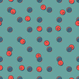 Seamless pattern of red and blue smiley dots.  Stock Photos