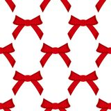 Seamless pattern, red bows on a white background. Illustration Royalty Free Stock Photo